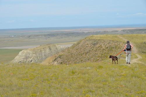 Grasslands National Park West Block - Linda on top of the Butte