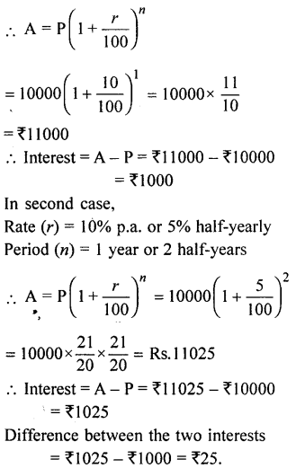 ML Aggarwal Class 9 Solutions for ICSE Maths Chapter 2 Compound Interest Chapter Test 1