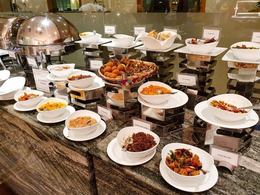 A selection of Sri Lankan dishes at the Sri Lankan corner, for dinner