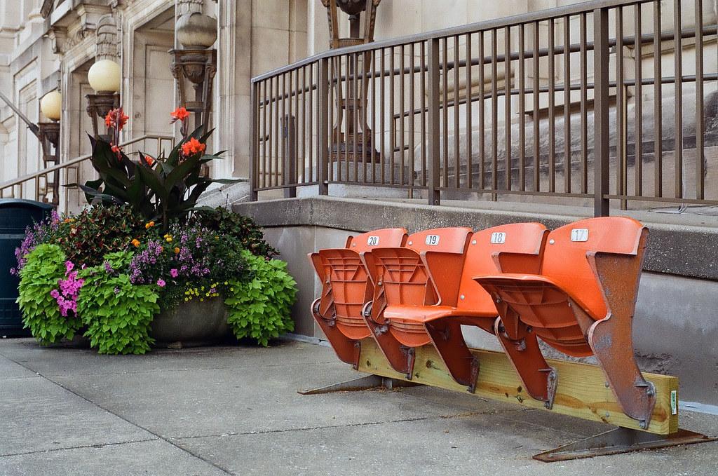 Bleacher seats at City Hall