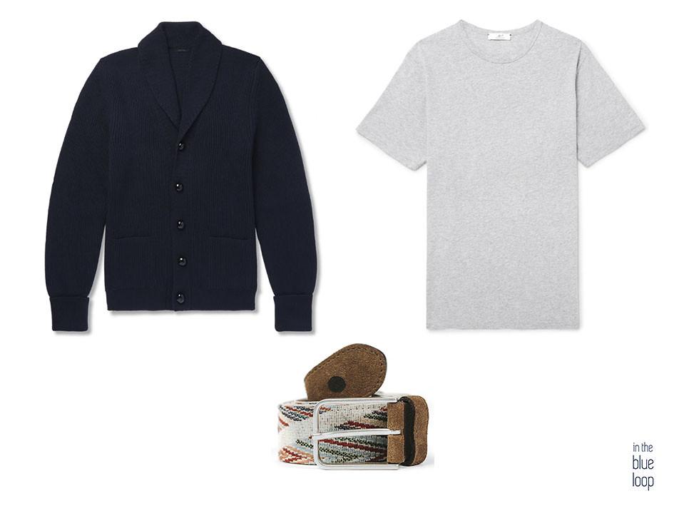 Look casual masculino con camiseta gris, cárdigan y cinturón arure de blue hole