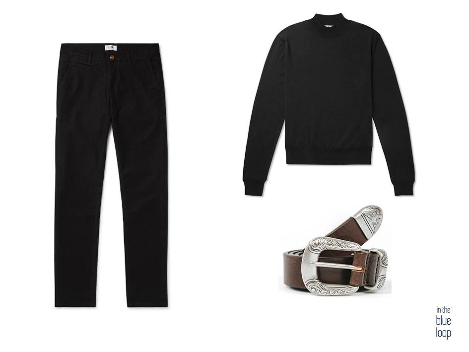 Look smart casual con cinturón Uga de blue hole, jersey de cuello vuelto negro y pantalones negros