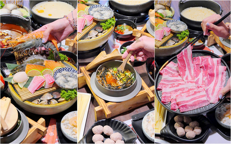 千波苑鍋の物_台中沙鹿:吃火鍋配釜飯+現撈活海鮮精緻火鍋份量十足!肉盤也是大份量厚度實在!