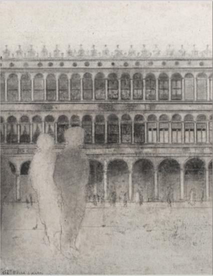Piazza San Marco Detalle Ca 2000 Técnica mixta en cartón Uti 425