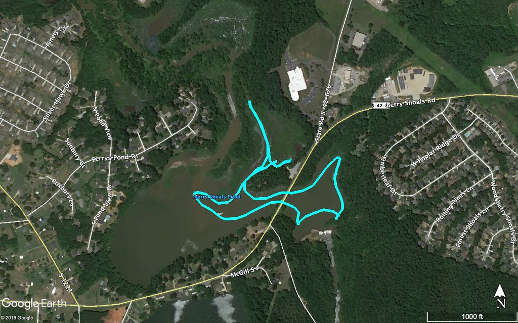 Berry Shoals Pond Paddle Route