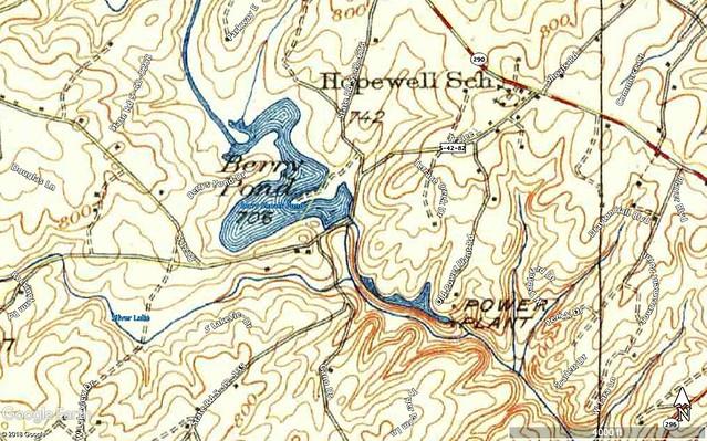 Berry Shoals Pond Area 1938 USGS Topo