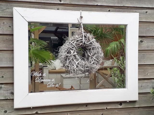 Spiegel krans landelijke tuin