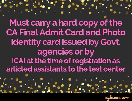 CA Final Admit Card 2019