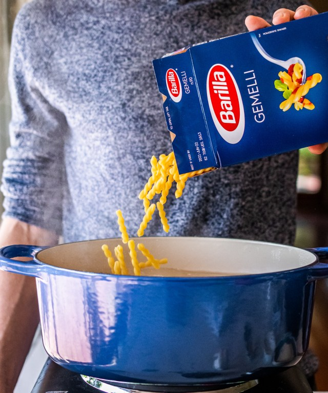 the spiral shape of gemelli pasta holds the sauce perfectly