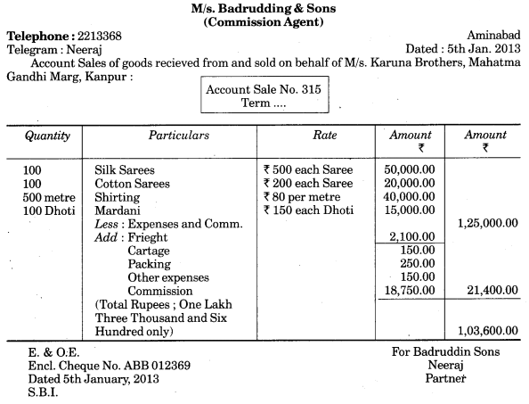 UP Board Solutions for Class 10 Commerce Chapter 10 Invoice, Mercentile Agents and Account Sale Q8