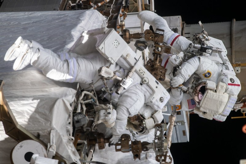 Spacewalkers Christina Koch and Andrew Morgan