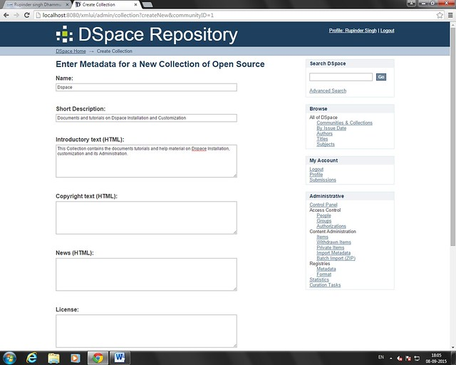 Create Dspace Collection