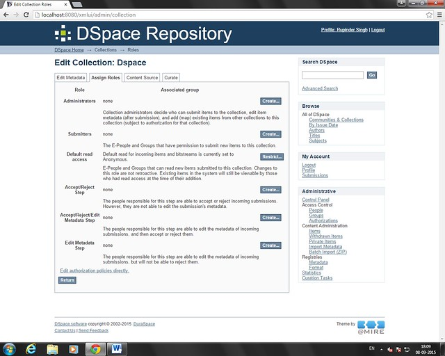 Dspace Collection Access Rights