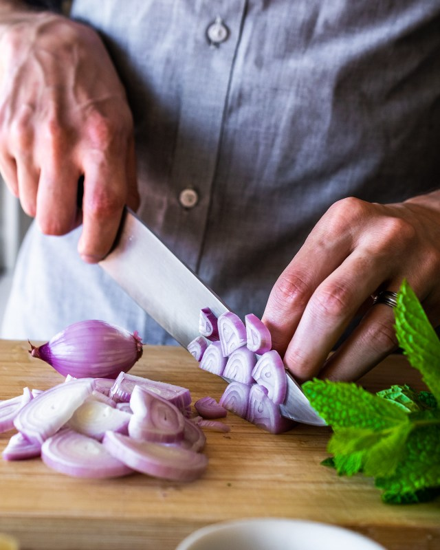 shallots have a delicate flavor and a beautiful purple color