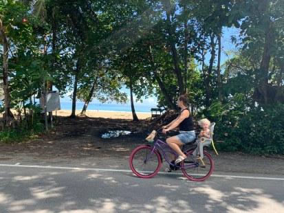 Biking along Playa Cocles in Costa Rica