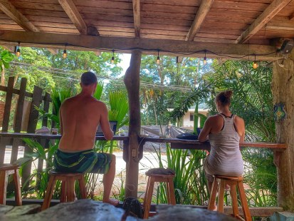 Steven and Diana at work (digital nomads in Puerto Viejo)