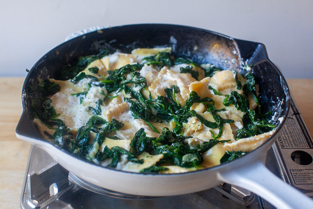 add mascarpone and spinach