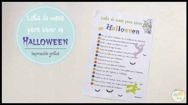 Lista de cosas para hacer en Halloween para niños. Imprimible gratis