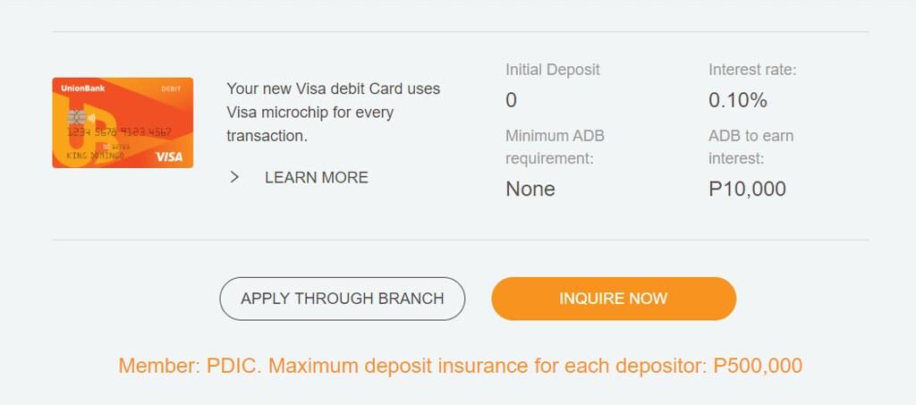 UnionBank Personal Savings Account