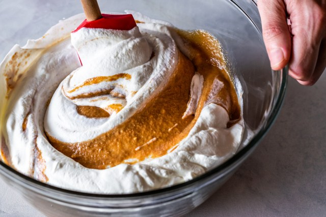 swirls of pumpkin custard and whipped cream