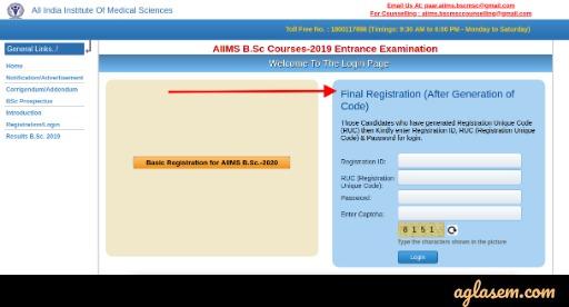 एम्स बीएससी 2020 अंतिम पंजीकरण