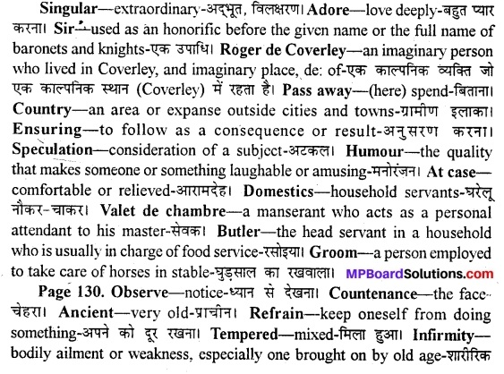 MP Board Class 11th English A Voyage Solutions Chapter 17 Sir Roger at Home (Joseph Addison) 1