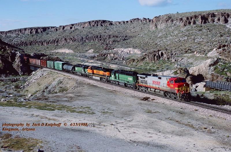 (SEE & HEAR)---BNSF 703, MP517 Kingman, AZ. 4-17-1998