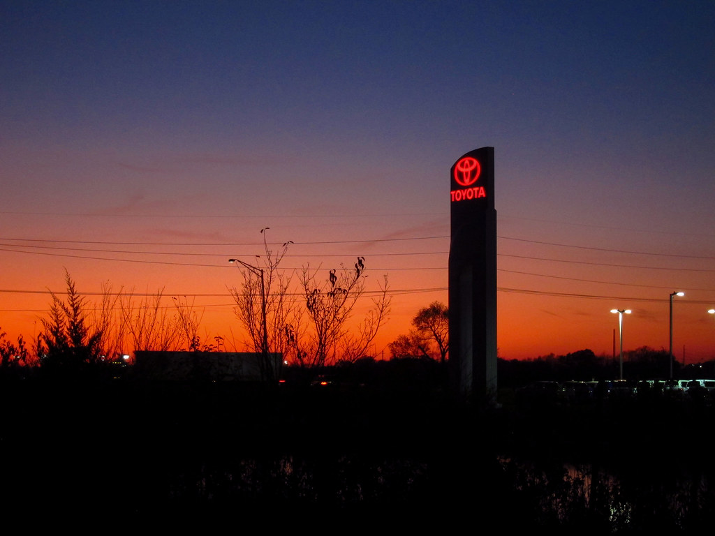 Sunset over the Toyota dealer