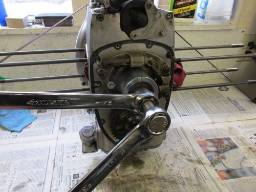 Removing Crankshaft Nose Bearing & Timing Sprocket with 1-1/8 Inch Box Wrenches