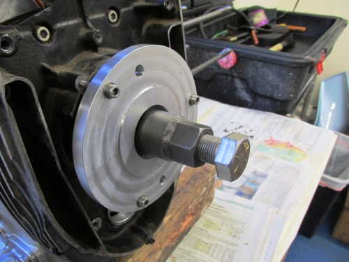 Cycle Works Inner Timing Cover Tool Installed-Just Tighten The Puller Bolt