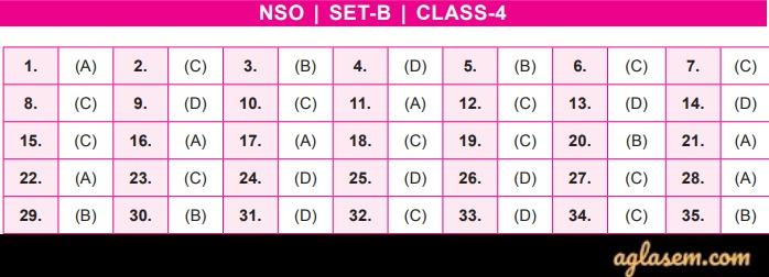 NSO Answer Key 2019-20 Class 4 Set B