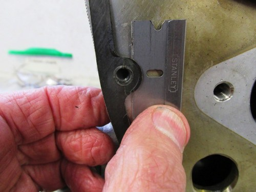 Careful Use Of Single Edge Razor Blade Removes Inner Timing Cover Gasket