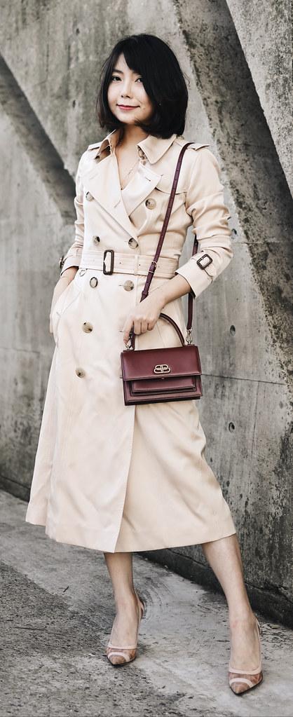 ▌Outft ▌Burberry絲質風衣 + Balenciaga Sharp XS + Fendi Colibri Pumps