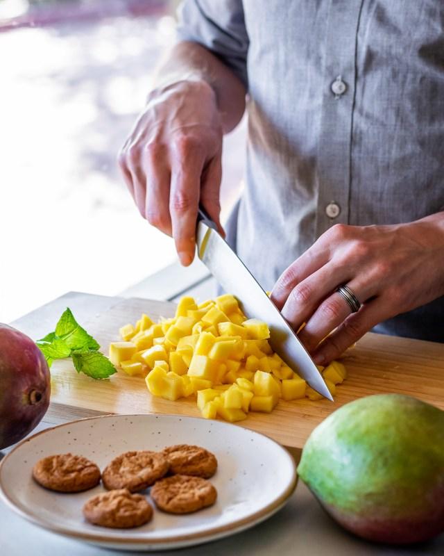 freshly diced tropical mangos