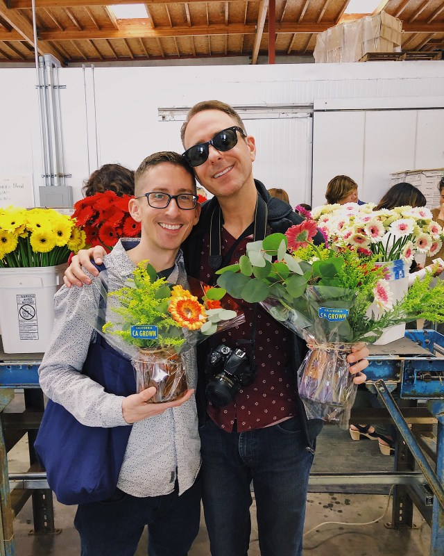 two proud flower-arrangers