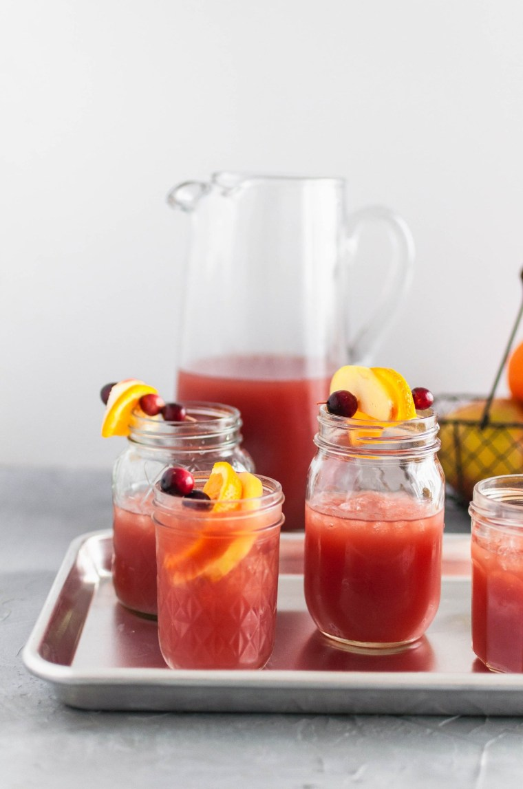 Thanksgiving Punch is just what any holiday needs. Orange juice, cranberry juice, apple cider and ginger beer combines to the most delicious beverage for fall.
