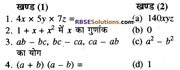 RBSE Solutions for Class 8 Maths Chapter 9 बीजीय व्यंजक Additional Questions Q4