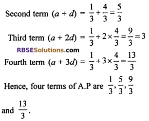 RBSE Solutions for Class 10 Maths Chapter 5 Arithmetic Progression Ex 5.1 1