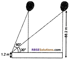 RBSE Solutions for Class 10 Maths Chapter 8 Height and Distance Additional Questions 69