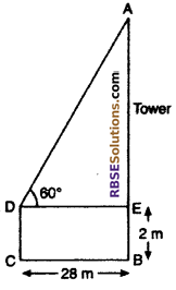 RBSE Solutions for Class 10 Maths Chapter 8 Height and Distance Additional Questions 34