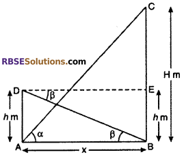 RBSE Solutions for Class 10 Maths Chapter 8 Height and Distance Additional Questions 23