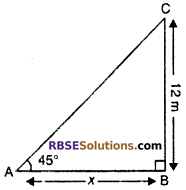 RBSE Solutions for Class 10 Maths Chapter 8 Height and Distance Additional Questions 4