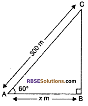 RBSE Solutions for Class 10 Maths Chapter 8 Height and Distance Additional Questions 3
