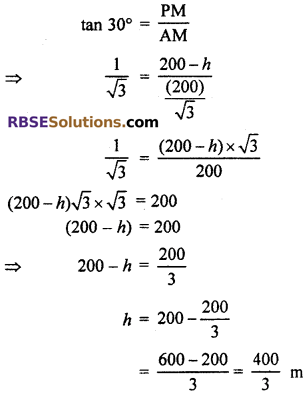 RBSE Solutions for Class 10 Maths Chapter 8 Height and Distance Additional Questions 18