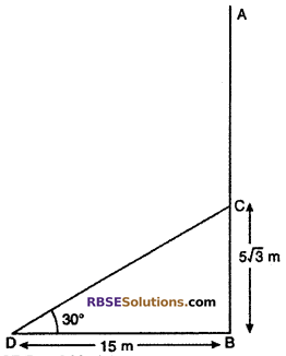 RBSE Solutions for Class 10 Maths Chapter 8 Height and Distance Additional Questions 13