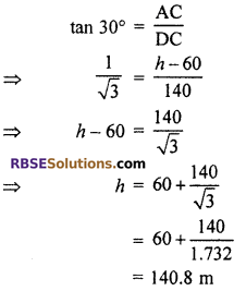 RBSE Solutions for Class 10 Maths Chapter 8 Height and Distance Additional Questions 61