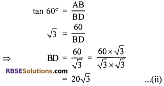 RBSE Solutions for Class 10 Maths Chapter 8 Height and Distance Additional Questions 51