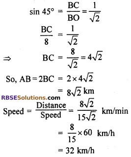 RBSE Solutions for Class 10 Maths Chapter 8 Height and Distance Additional Questions 30