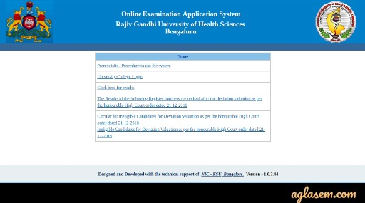 Home page of Online examination Application System