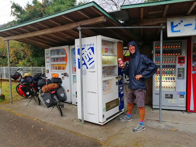 A nice shelter from the rain for us and our bicycles and a beer vending machine to boot! by bryandkeith on flickr